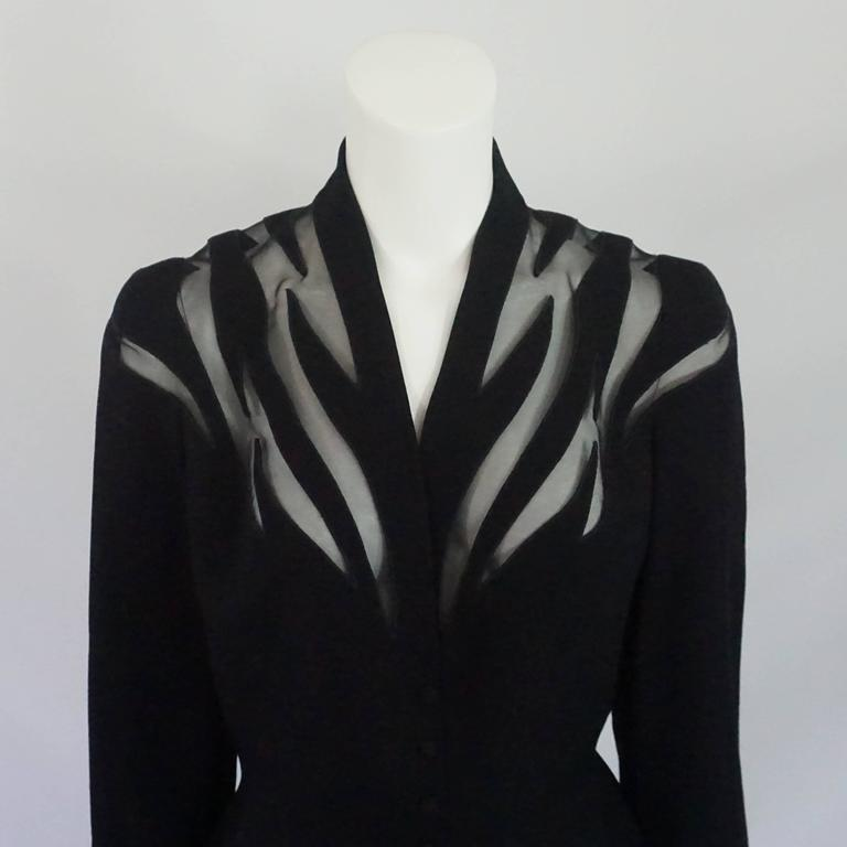 Women's Thierry Mugler Black Wool Skirt Suit with Mesh Cutout Design - 42 - 1980's For Sale