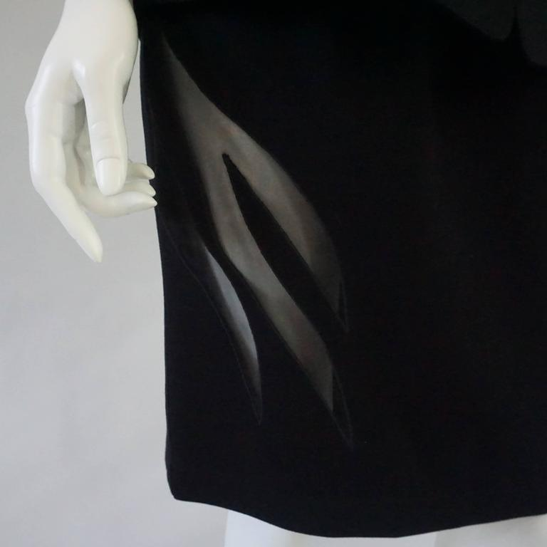 Thierry Mugler Black Wool Skirt Suit with Mesh Cutout Design - 42 - 1980's 5