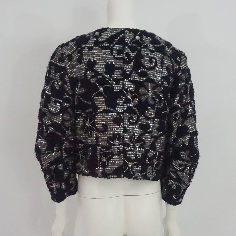 Black Oscar de la Renta Eggplant & Silver Tweed Jacket with Rhinestones - 10 For Sale