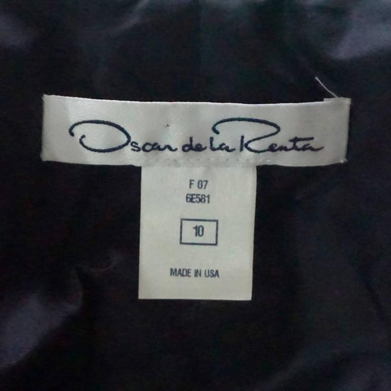Women's Oscar de la Renta Eggplant & Silver Tweed Jacket with Rhinestones - 10 For Sale