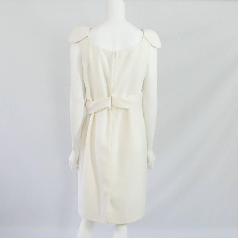 Gray Alexander McQueen Ivory Wool Dress with Crossed Front Design - 46 For Sale
