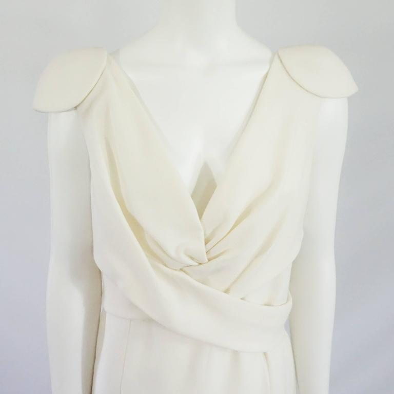 Alexander McQueen Ivory Wool Dress with Crossed Front Design - 46 In Excellent Condition For Sale In Palm Beach, FL