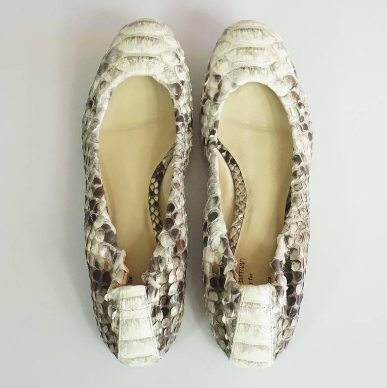 White Alexandre Birman Ivory and Gray Python Flats - 36 For Sale