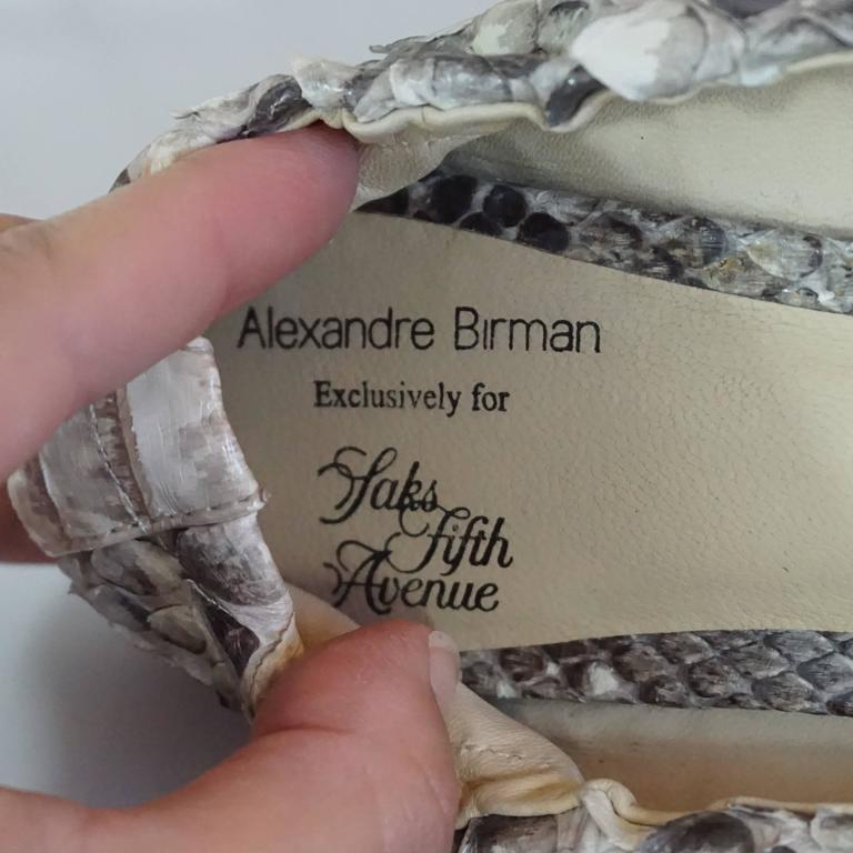 Alexandre Birman Ivory and Gray Python Flats - 36 6