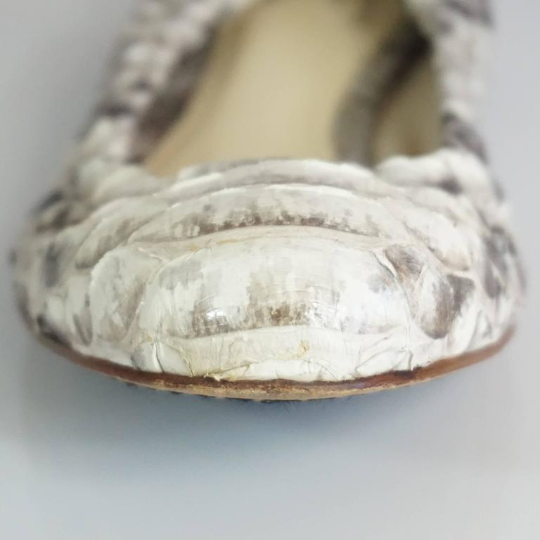Alexandre Birman Ivory and Gray Python Flats - 36 7