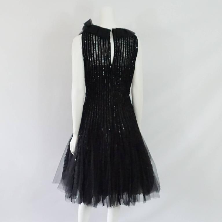 Oscar de la Renta Black Tulle, Velvet & Sequin Evening Dress - 12  3