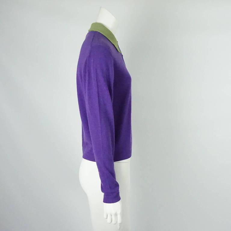 Hermes Vintage Purple Cashmere Sweater with Green Collar - L - 1970's 2