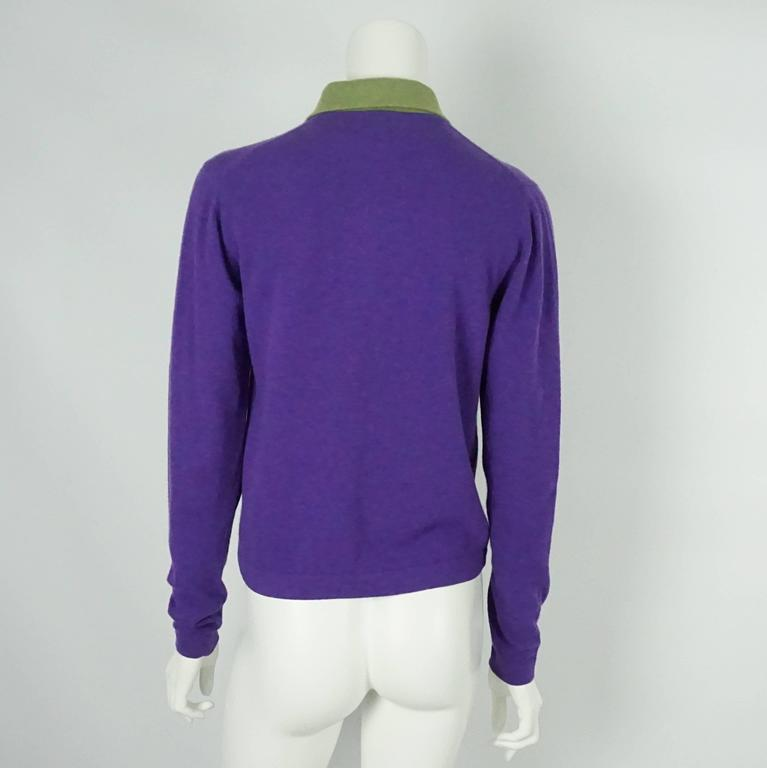 Hermes Vintage Purple Cashmere Sweater with Green Collar - L - 1970's 3