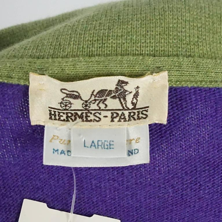 Hermes Vintage Purple Cashmere Sweater with Green Collar - L - 1970's 5