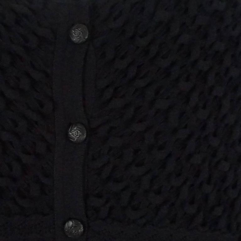 Chanel Black Wool Blend Ribbed Sweater Top - 40 5