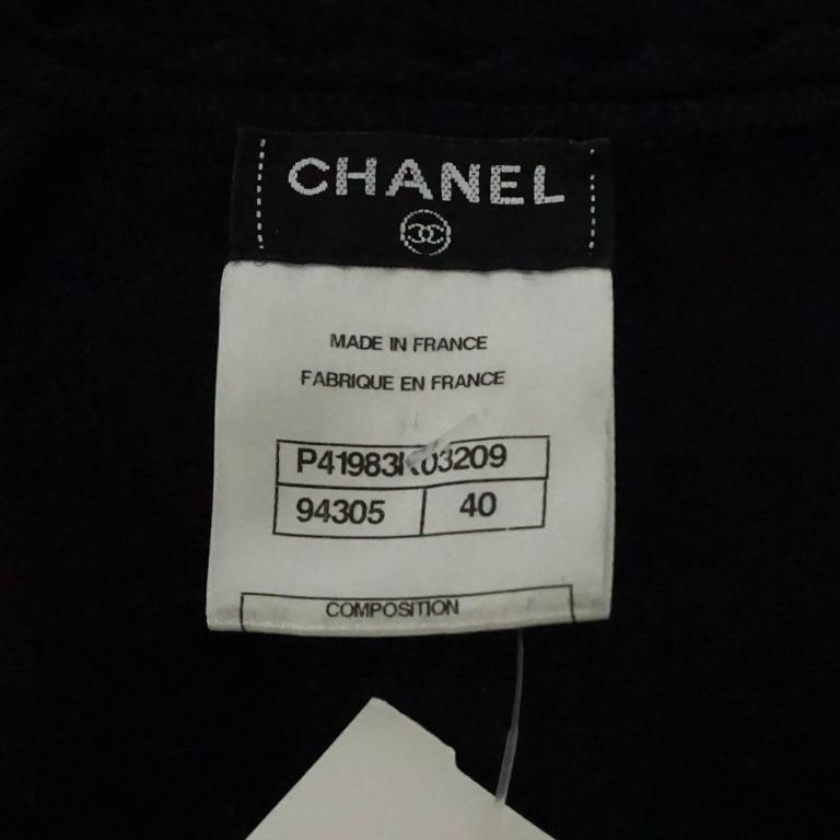 Chanel Black Wool Blend Ribbed Sweater Top - 40 6