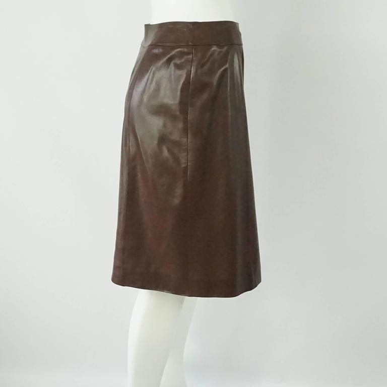 Chanel Brown Lambskin Wrap Skirt - 40 - 01A 2