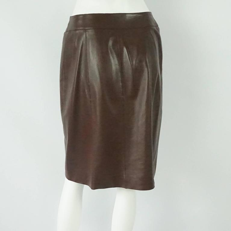 Chanel Brown Lambskin Wrap Skirt - 40 - 01A 3