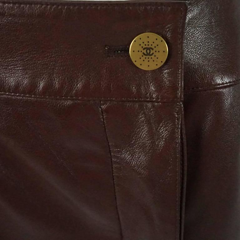 Chanel Brown Lambskin Wrap Skirt - 40 - 01A 4