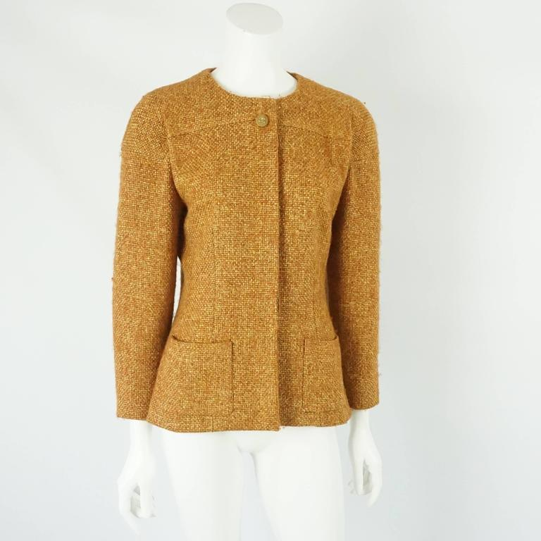 Chanel Burnt Orange Wool Blend Jacket with Removable Scarf - 38 - 01A 2