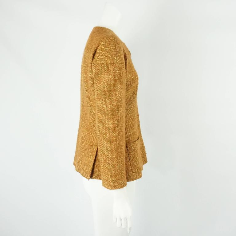 Chanel Burnt Orange Wool Blend Jacket with Removable Scarf - 38 - 01A 3