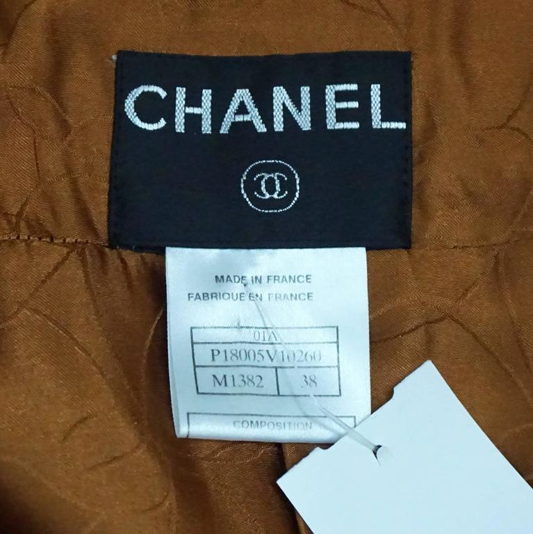 Chanel Burnt Orange Wool Blend Jacket with Removable Scarf - 38 - 01A 6