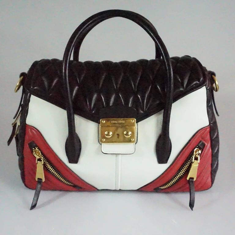 Miu Miu Miu Miu Black/white/red Quilted Handbag - Ghw S22fscSf