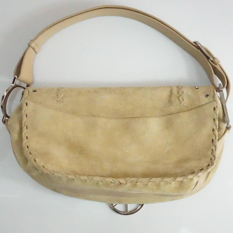 Brown Christian Dior Tan Suede and Leather Large Pouchette w/ Rhinestones-SHW For Sale