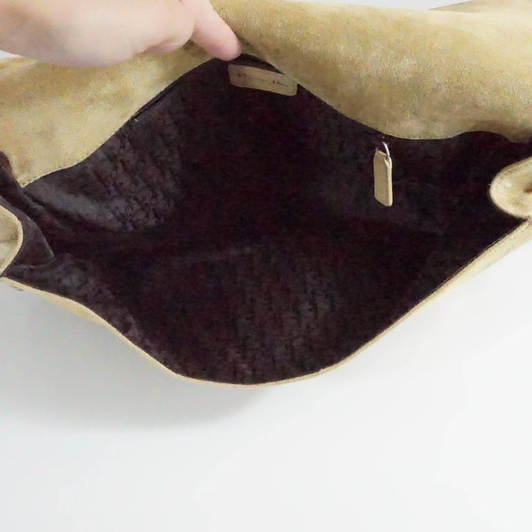 Women's Christian Dior Tan Suede and Leather Large Pouchette w/ Rhinestones-SHW For Sale