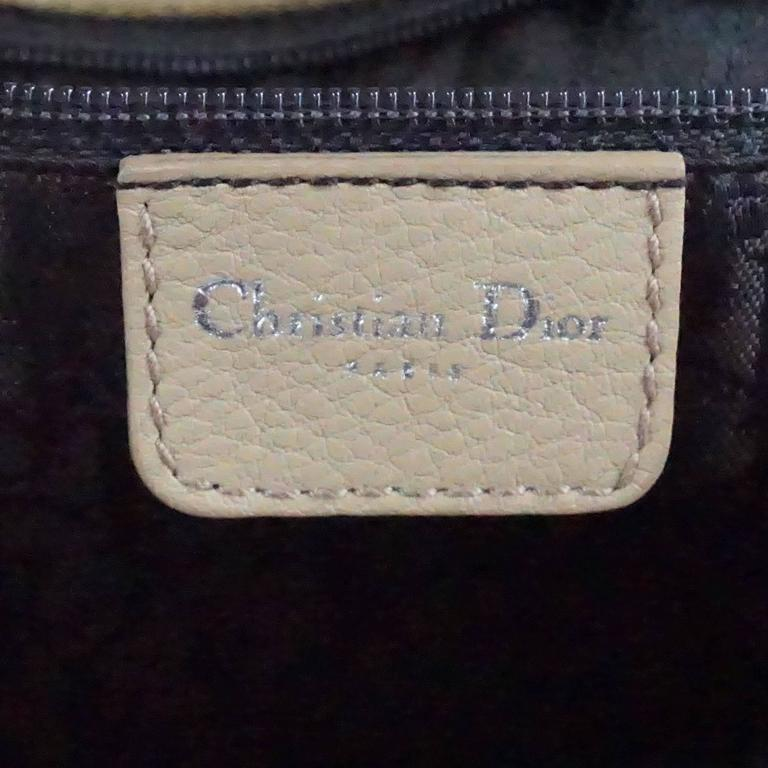 Christian Dior Tan Suede and Leather Large Pouchette w/ Rhinestones-SHW For Sale 1