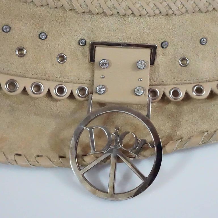 Christian Dior Tan Suede and Leather Large Pouchette w/ Rhinestones-SHW For Sale 2