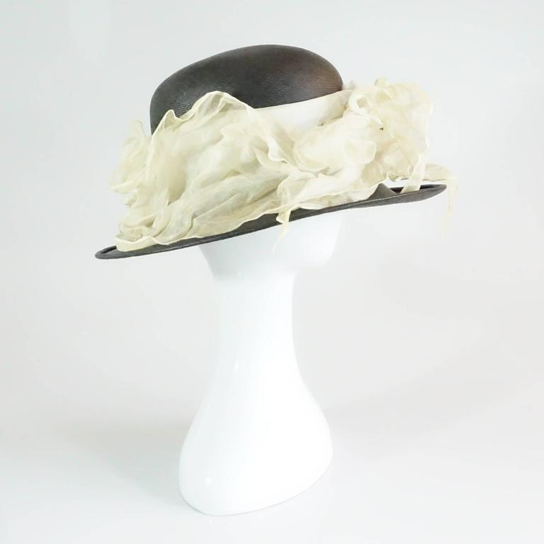 Suzanne Couture Millinery Black French Straw Hat w/ Ivory Silk Ruched Ribbon This hat is in pristine condition. Measurements: Inside Circumference 20.5
