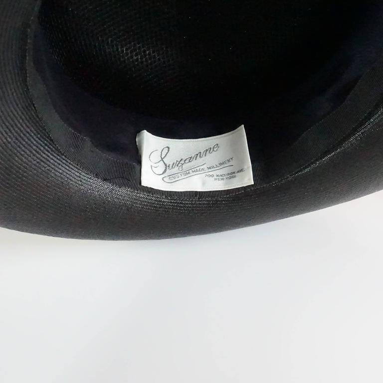 Suzanne Couture Millinery Black French Straw Hat w/ Ivory Silk Ruched Ribbon For Sale 1