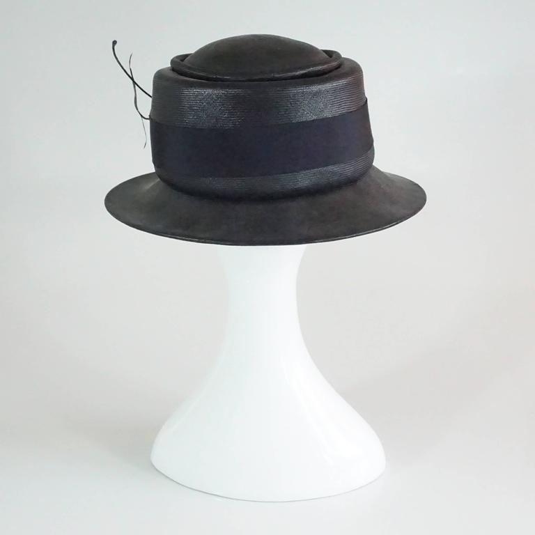 Suzanne Couture Millinery Black & Navy French Straw Hat w/ Ribbon & Bead detail In Excellent Condition For Sale In Palm Beach, FL