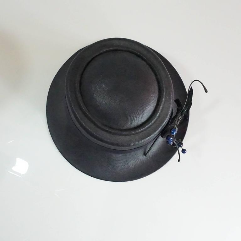 Women's Suzanne Couture Millinery Black & Navy French Straw Hat w/ Ribbon & Bead detail For Sale