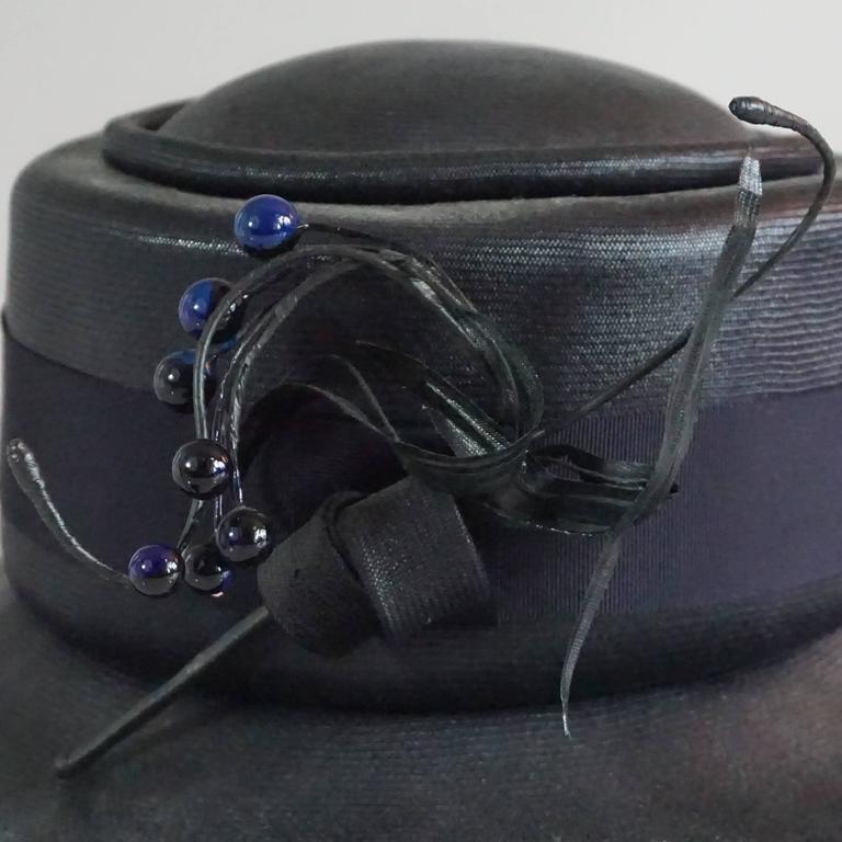 Suzanne Couture Millinery Black & Navy French Straw Hat w/ Ribbon & Bead detail For Sale 3