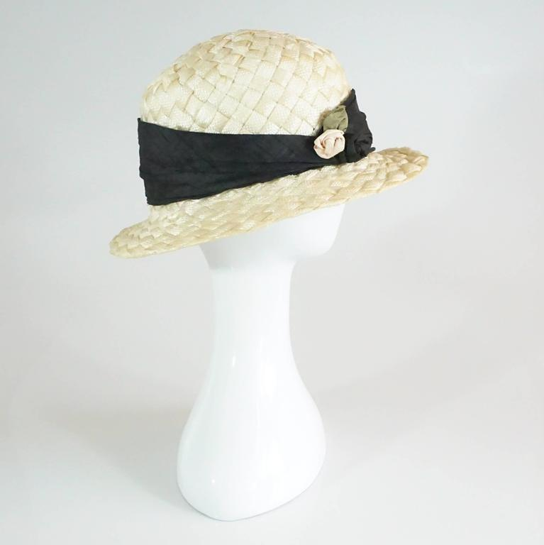 Suzanne Couture Cream Swiss Braided Straw Woven Hat w/ Black Silk frabric 2