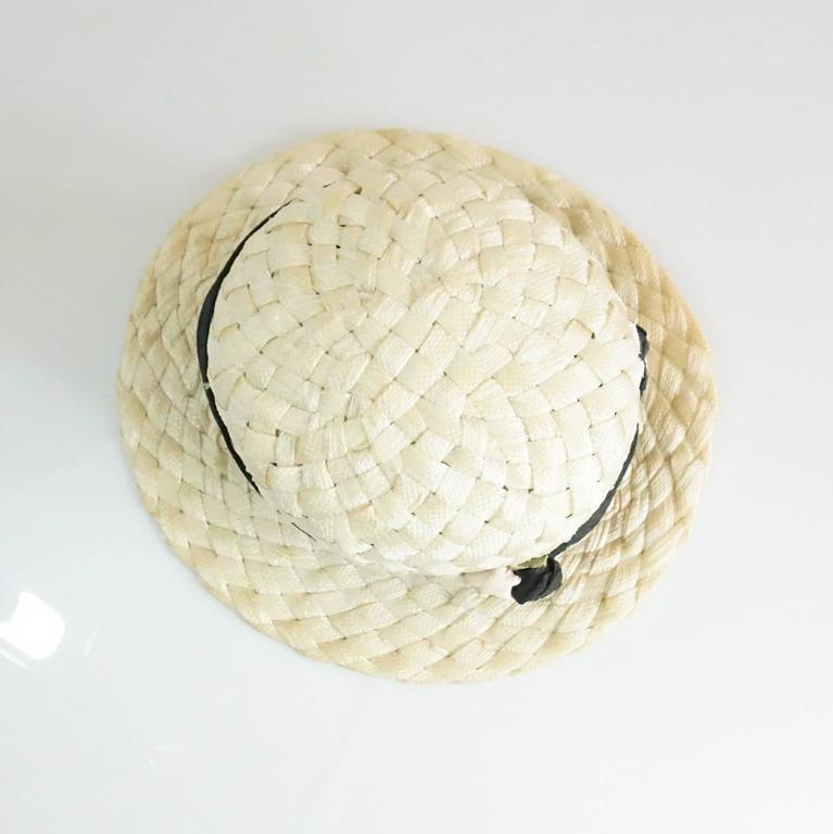 Suzanne Couture Cream Swiss Braided Straw Woven Hat w/ Black Silk frabric 4