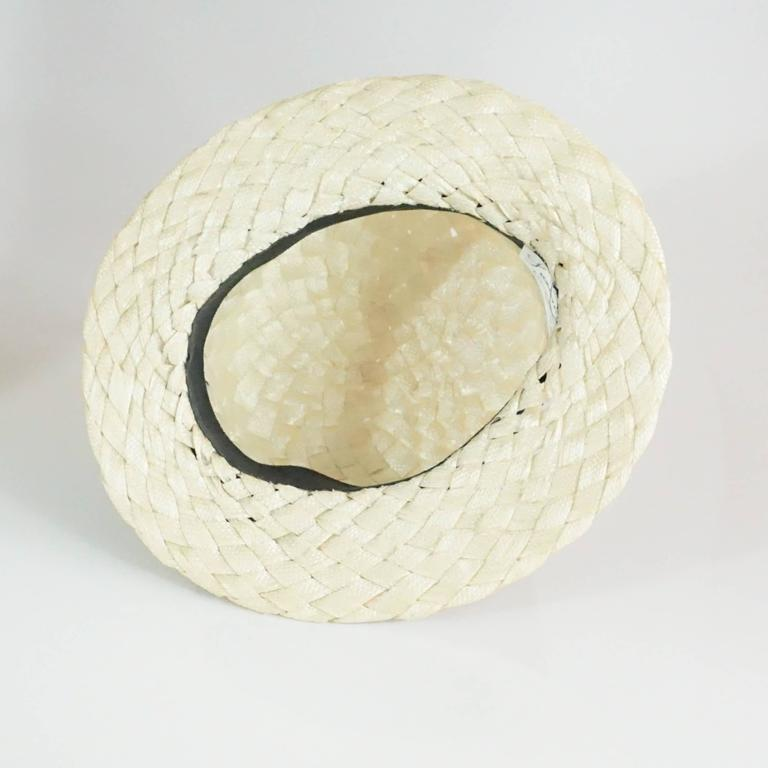 Suzanne Couture Cream Swiss Braided Straw Woven Hat w/ Black Silk frabric 5
