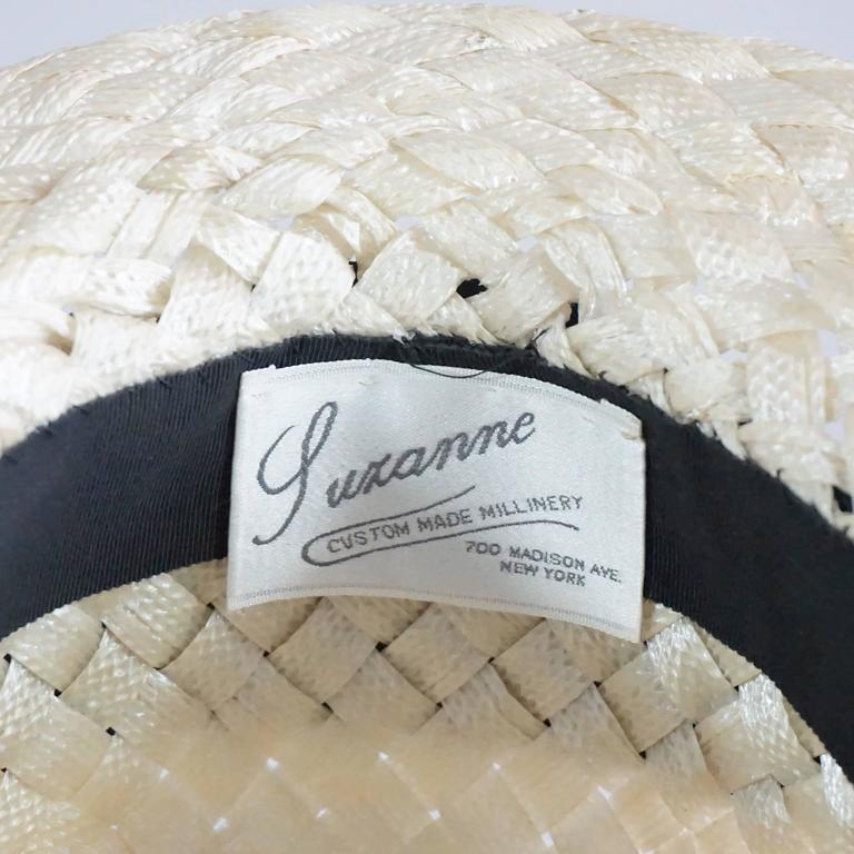Suzanne Couture Cream Swiss Braided Straw Woven Hat w/ Black Silk frabric 6