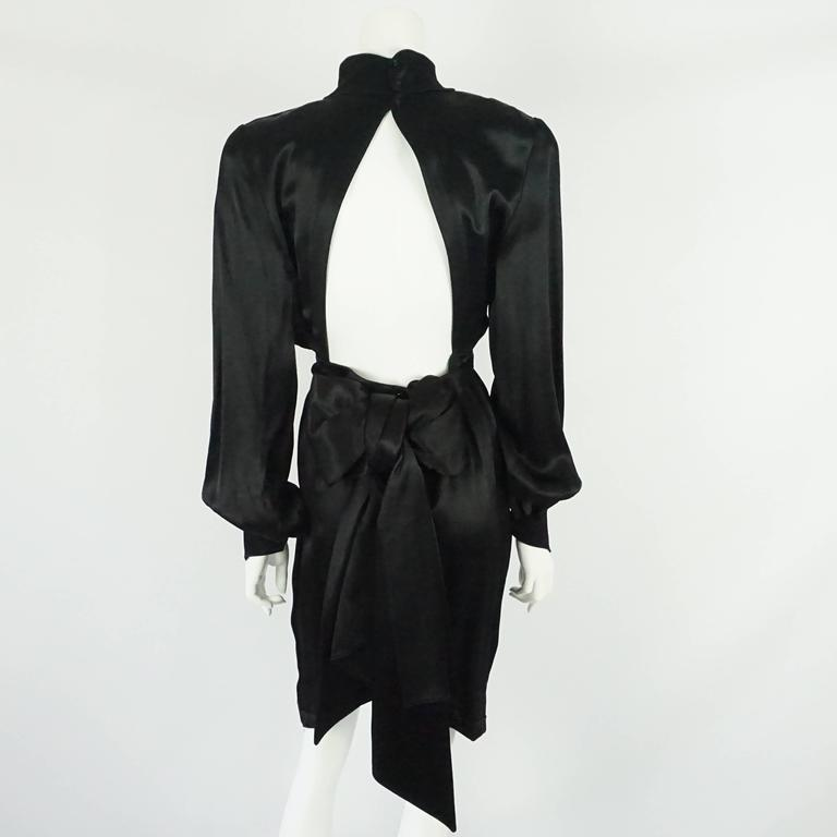 Thierry Mugler Black Satin Dress with Back Bow - 40 - Circa 1980s 3