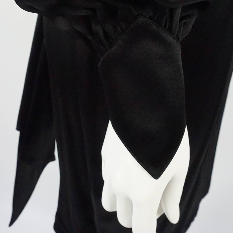 Thierry Mugler Black Satin Dress with Back Bow - 40 - Circa 1980s 4