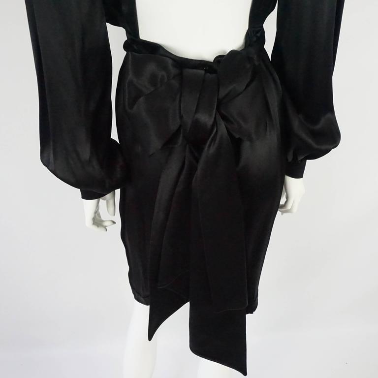 Thierry Mugler Black Satin Dress with Back Bow - 40 - Circa 1980s 5