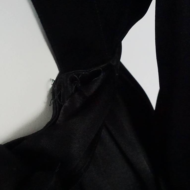 Thierry Mugler Black Satin Dress with Back Bow - 40 - Circa 1980s 7