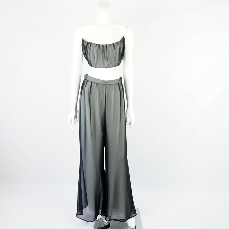Thierry Mugler Black & White Palazzo Pants, Cropped Bustier & Belt-4-Circa 80's 2
