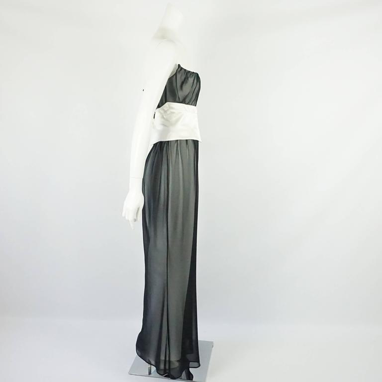Thierry Mugler Black & White Palazzo Pants, Cropped Bustier & Belt-4-Circa 80's 3