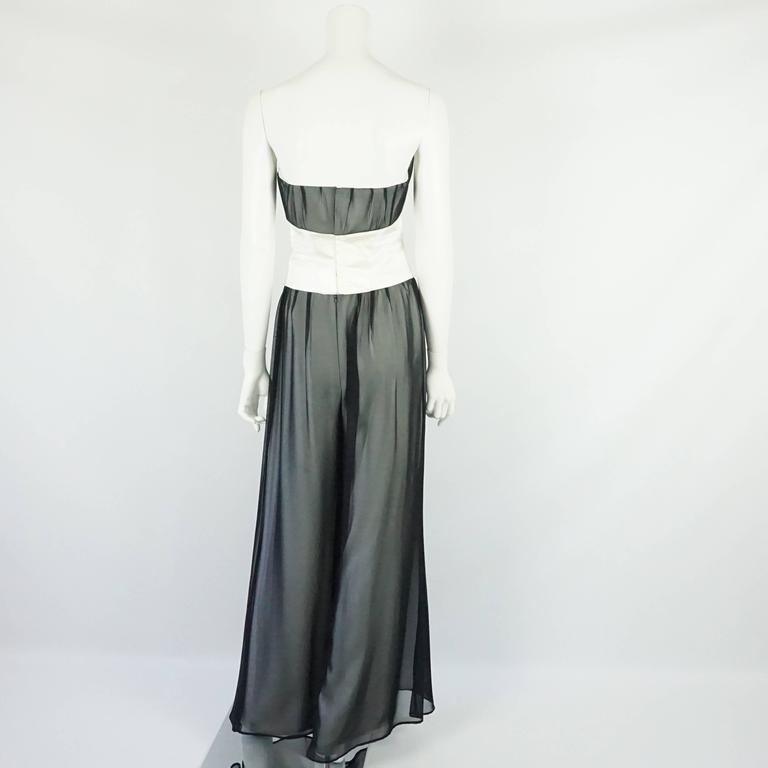 Thierry Mugler Black & White Palazzo Pants, Cropped Bustier & Belt-4-Circa 80's 4