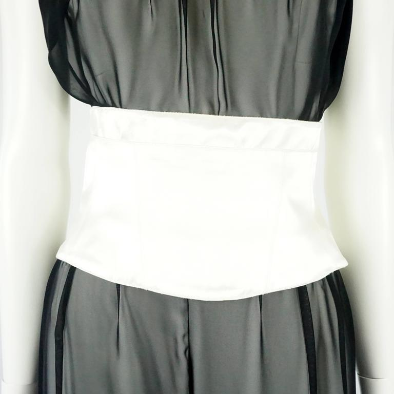 Thierry Mugler Black & White Palazzo Pants, Cropped Bustier & Belt-4-Circa 80's 5