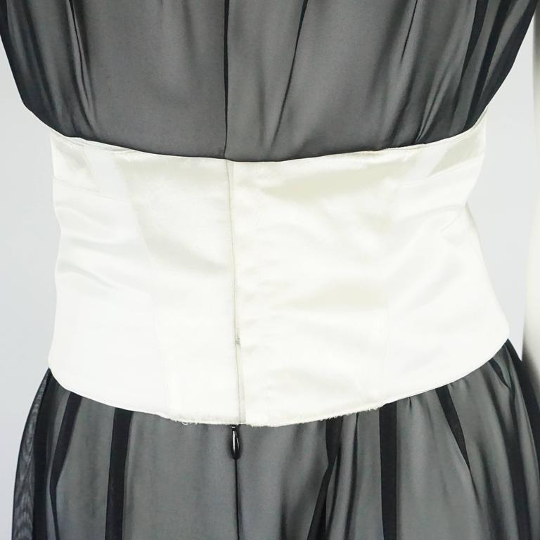 Thierry Mugler Black & White Palazzo Pants, Cropped Bustier & Belt-4-Circa 80's 6