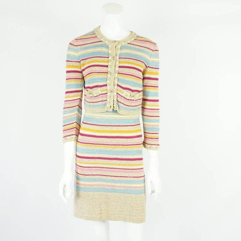 2fa3869274e Chanel Tan and Multi-Colored Cotton Knit Striped Dress and Cropped Cardigan  - 36.