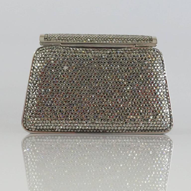 Women's Judith Leiber Silver Crystal Minaudiere - Circa 90's For Sale