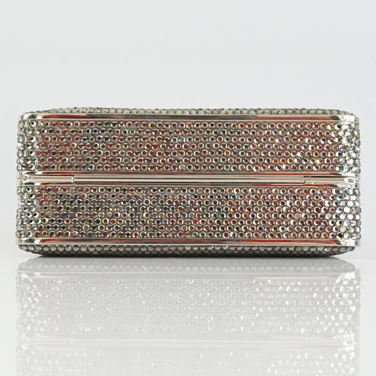 Judith Leiber Silver Crystal Minaudiere - Circa 90's For Sale 1