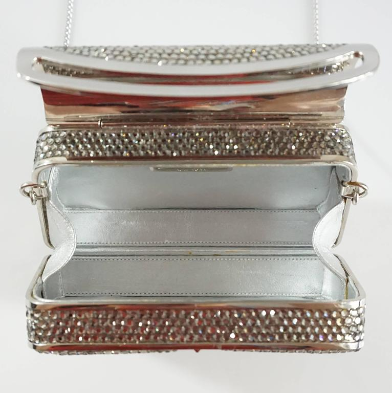 Judith Leiber Silver Crystal Minaudiere - Circa 90's For Sale 2