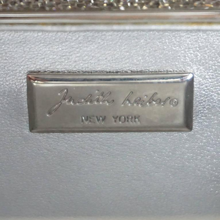 Judith Leiber Silver Crystal Minaudiere - Circa 90's For Sale 3