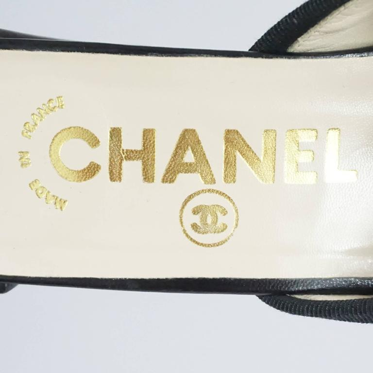 Chanel Black Ballet Style Leather and Patent Slide w/ Chunky Heel-37.5 6